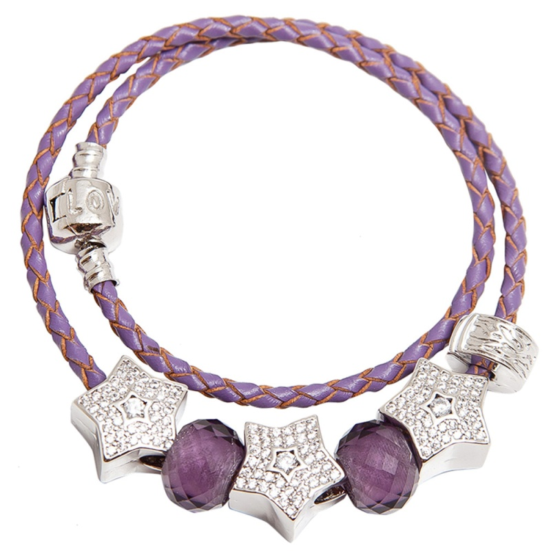 Кожаный браслет с шармами Asavi Jewel S фиолетовый