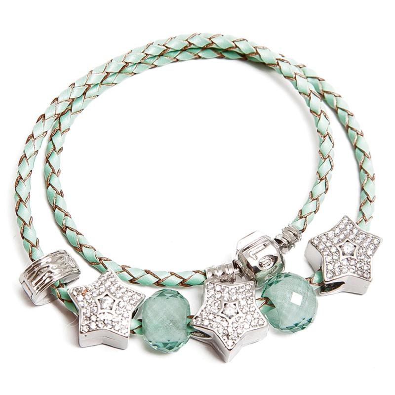 Кожаный браслет с шармами Asavi Jewel S светло-зеленый
