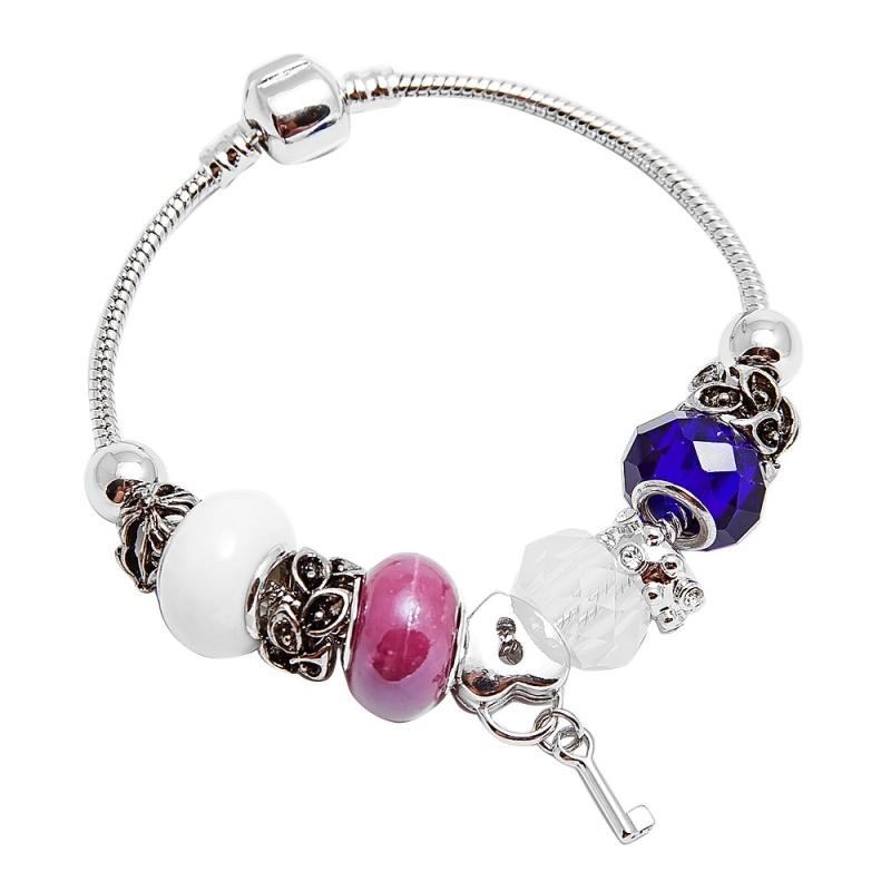 Браслет с шармами Asavi Jewel S белый, синий, розовый