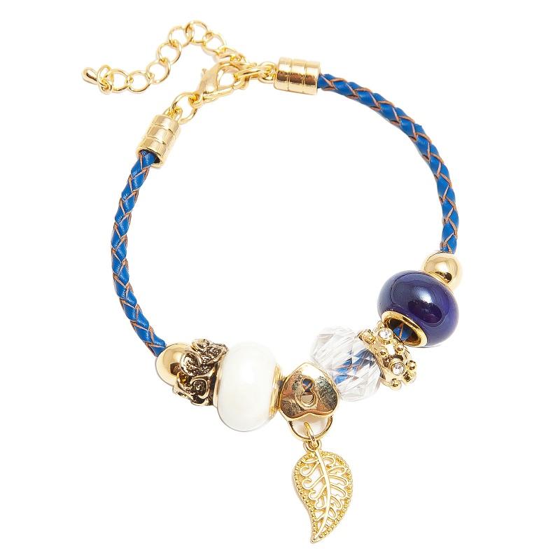 Кожаный браслет с шармами Asavi Jewel G синий