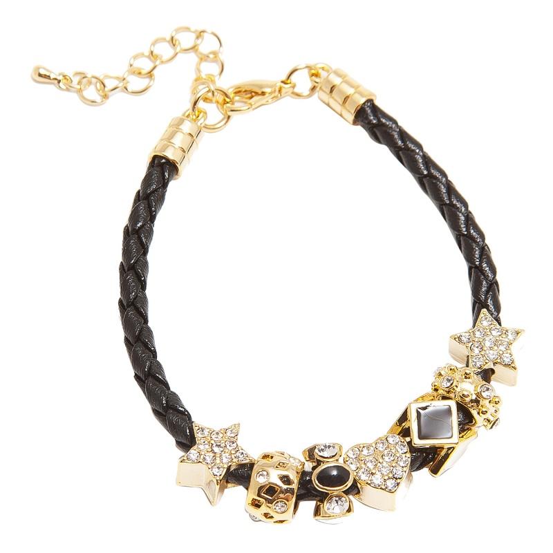 Кожаный браслет с шармами Asavi Jewel G чёрный