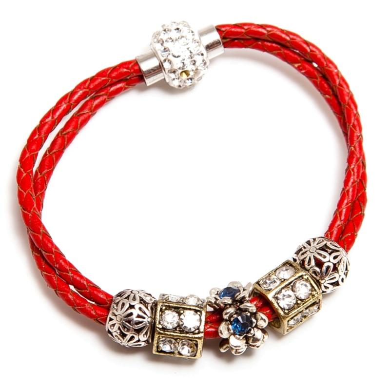 Кожаный браслет с шармами Asavi Jewel S красный