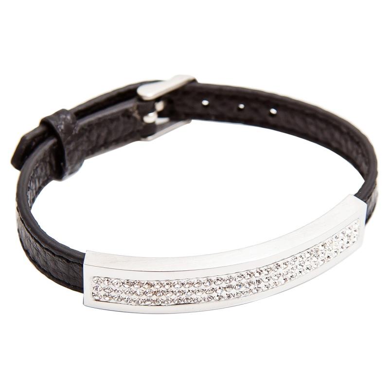 Кожаный браслет Asavi Jewel S черный