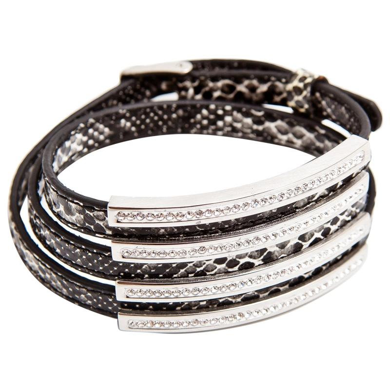Кожаный браслет Asavi Jewel S черно-белый