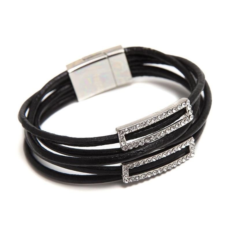 Кожаный браслет Boho S черный