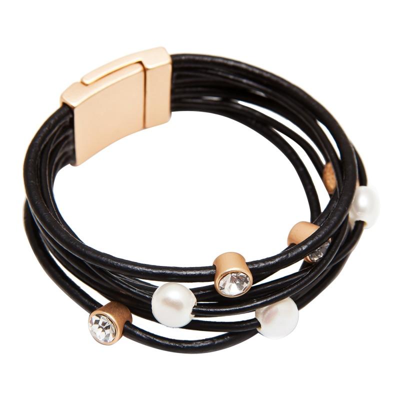 Кожаный браслет Boho G черный
