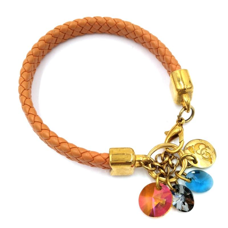 Плетёный кожаный браслет By Dziubeka I love BIL0716 G