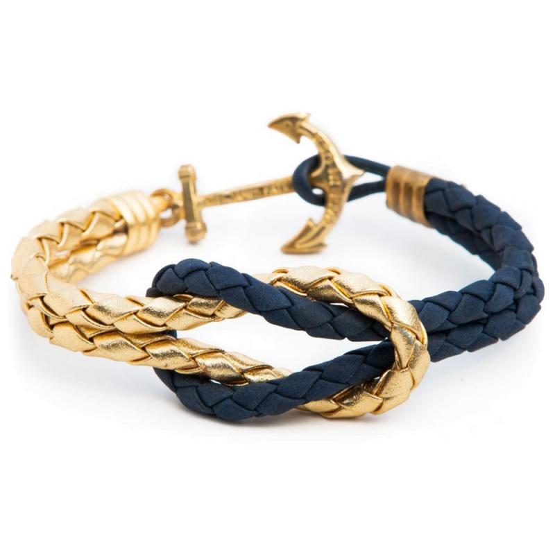 Кожаный браслет Kiel James Patrick - Gold Navy
