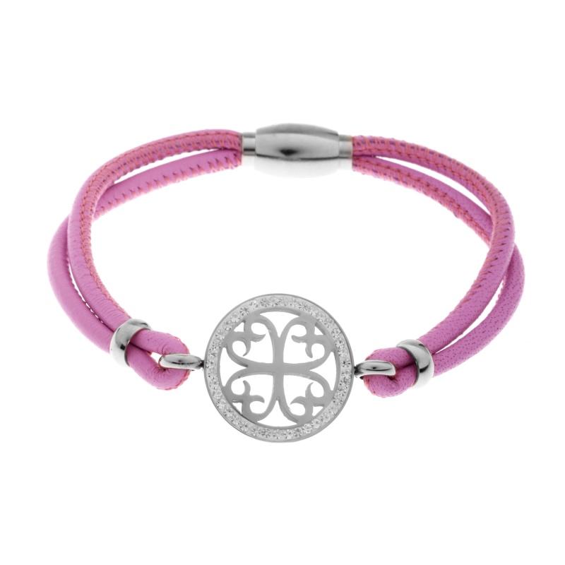 Кожаный браслет Qudo Avellina S розовый
