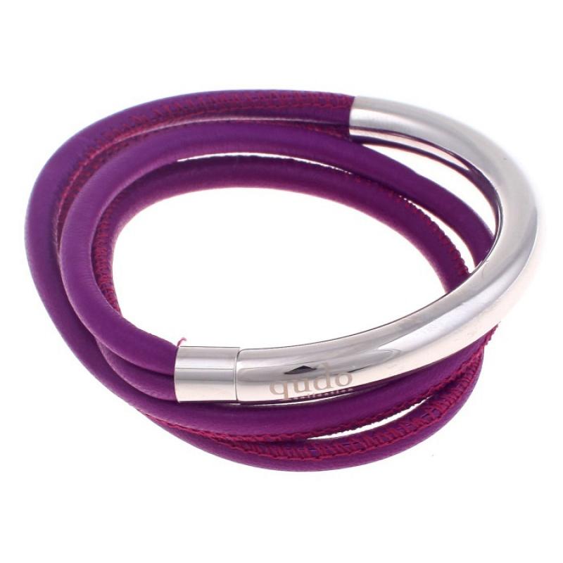 Кожаный браслет Qudo Doppio small S фиолетовый