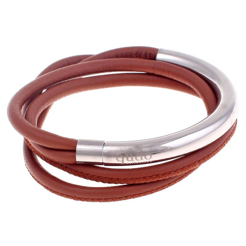 Кожаный браслет Qudo Doppio small S светло-коричневый