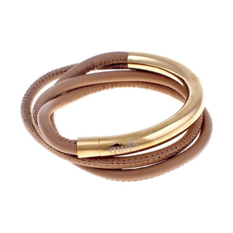 Кожаный браслет Qudo Doppio small G тёмно-бежевый