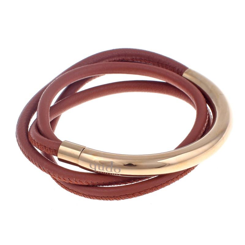 Кожаный браслет Qudo Doppio small G светло-коричневый