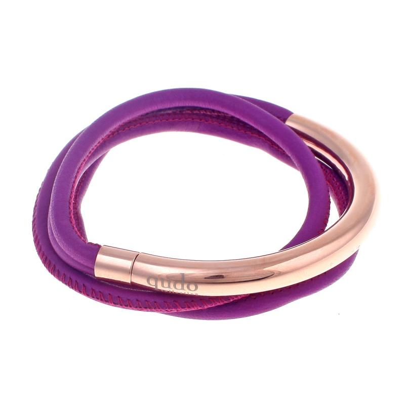 Кожаный браслет Qudo Doppio small RG фиолетовый