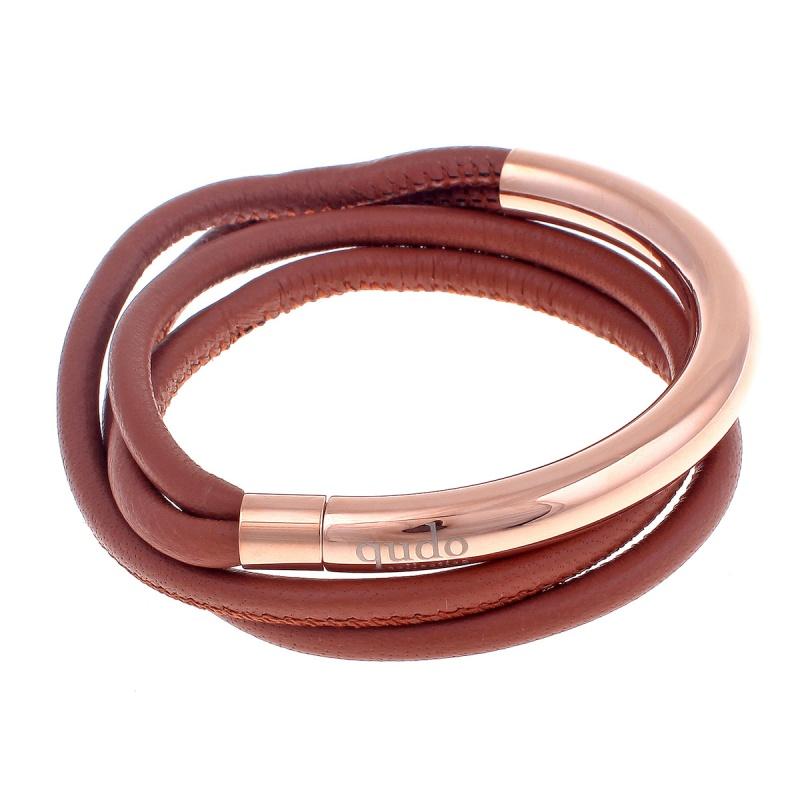 Кожаный браслет Qudo Doppio small RG светло-коричневый