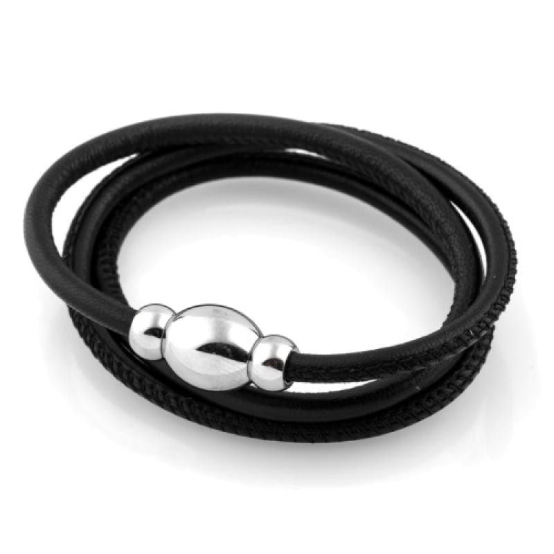 Кожаный браслет Qudo Tender S чёрный
