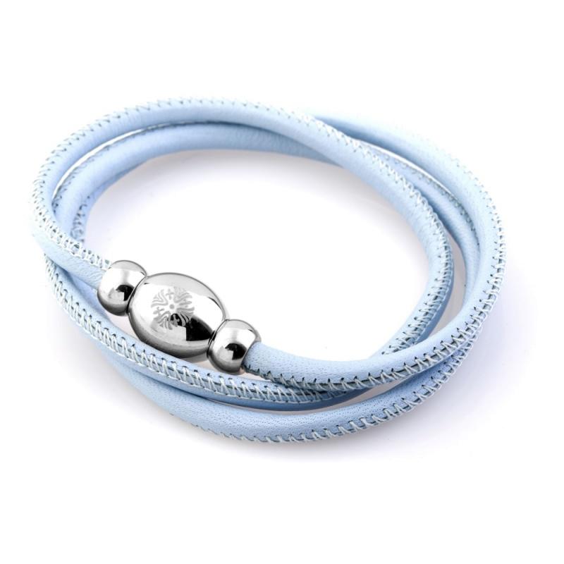 Кожаный браслет Qudo Tender S светло-голубой
