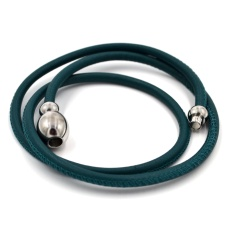 Кожаный браслет Qudo Tender S тёмно-зелёный
