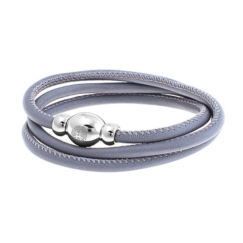 Кожаный браслет Qudo Tender S серый