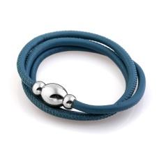 Кожаный браслет Qudo Tender S тёмно-голубой