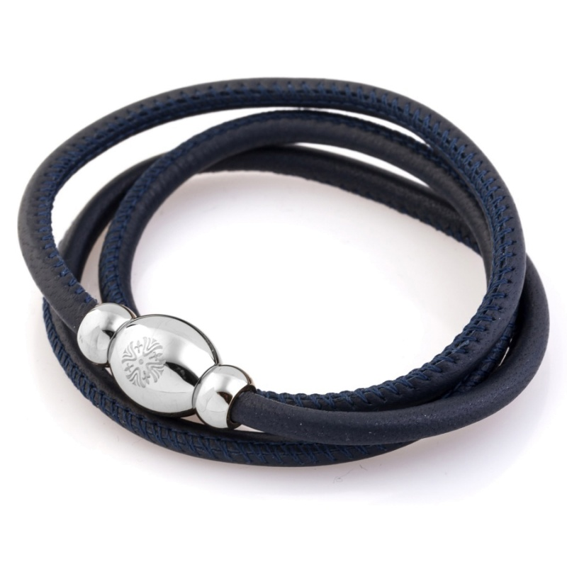Кожаный браслет Qudo Tender S тёмно-синий