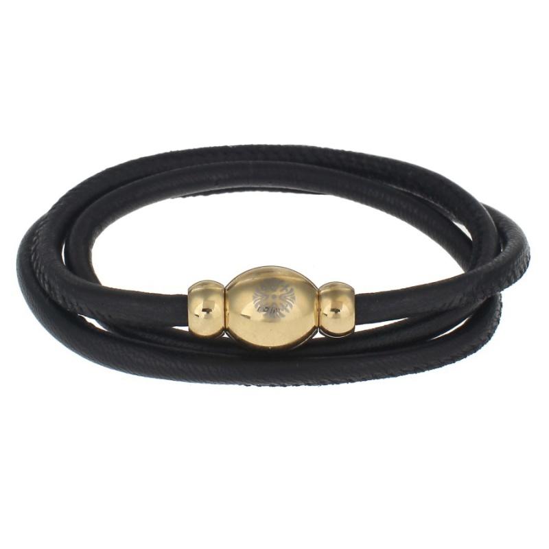 Кожаный браслет Qudo Tender G чёрный