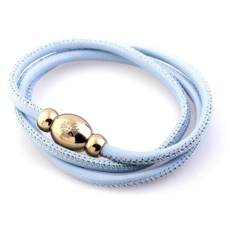 Кожаный браслет Qudo Tender G светло-голубой