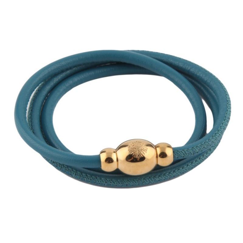 Кожаный браслет Qudo Tender G тёмно-голубой