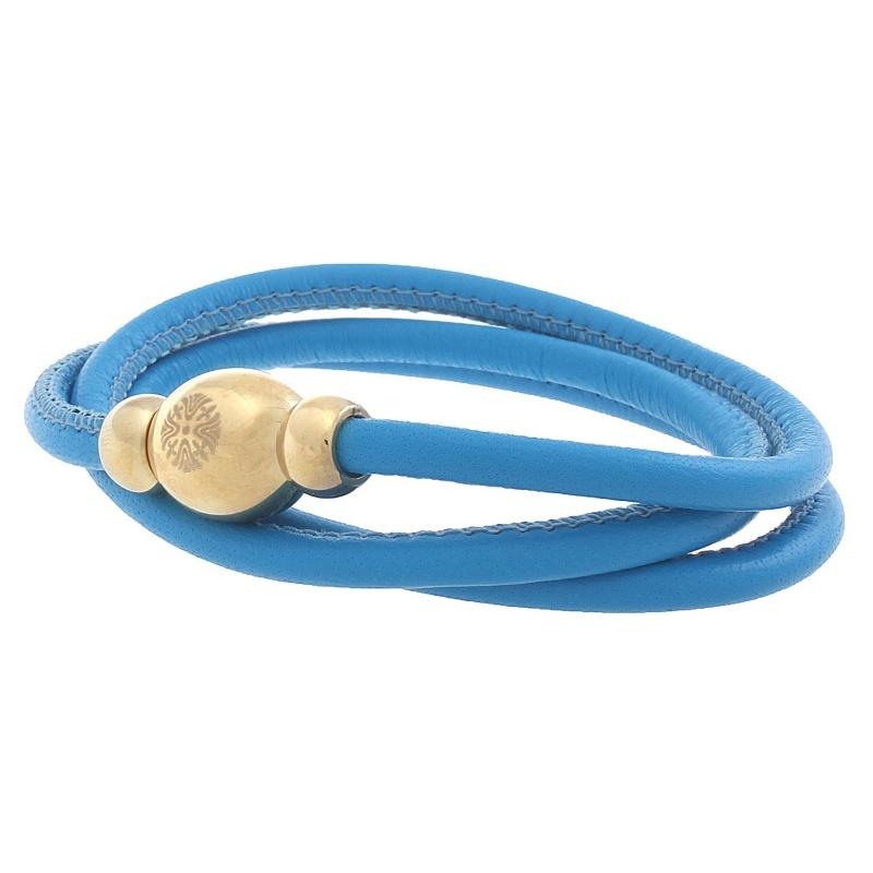 Кожаный браслет Qudo Tender G голубой