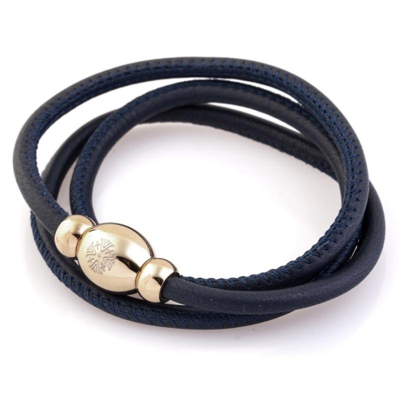 Кожаный браслет Qudo Tender G тёмно-синий
