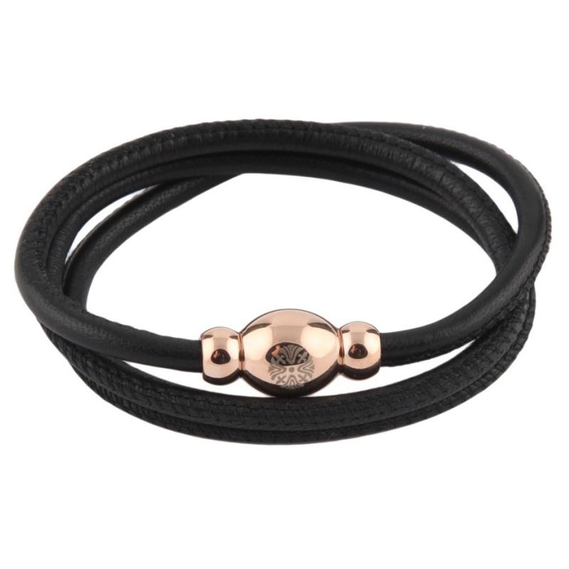 Кожаный браслет Qudo Tender RG чёрный
