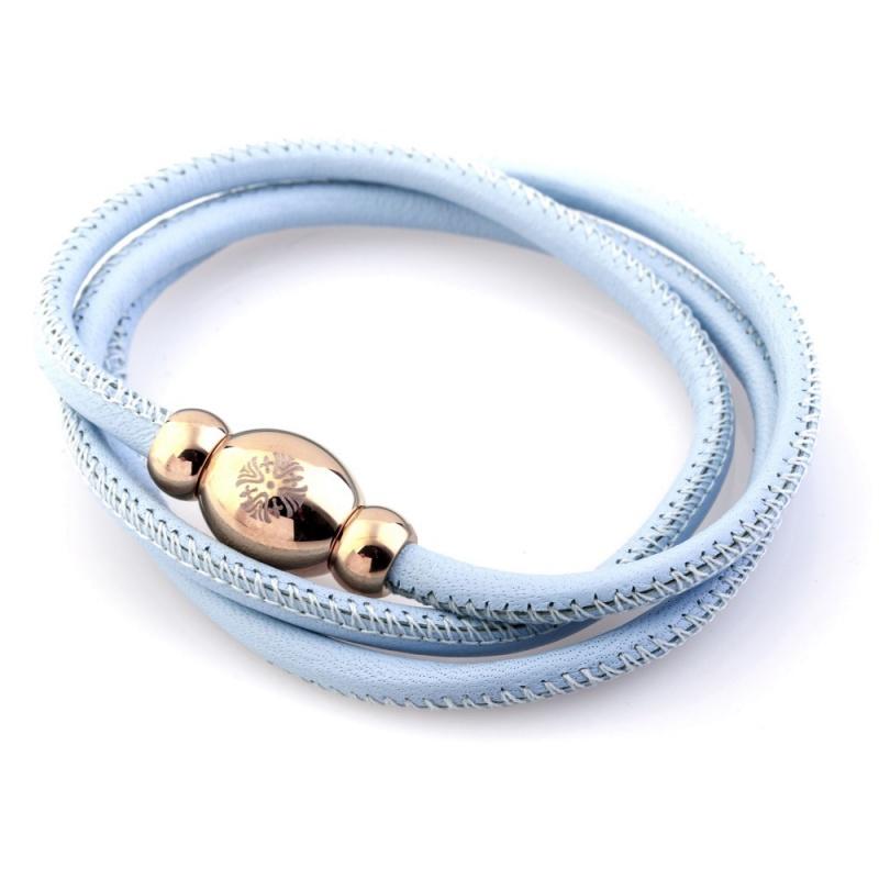 Кожаный браслет Qudo Tender RG светло-голубой