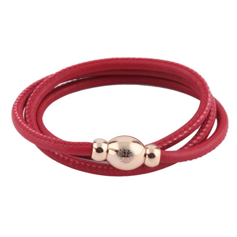 Кожаный браслет Qudo Tender RG красный