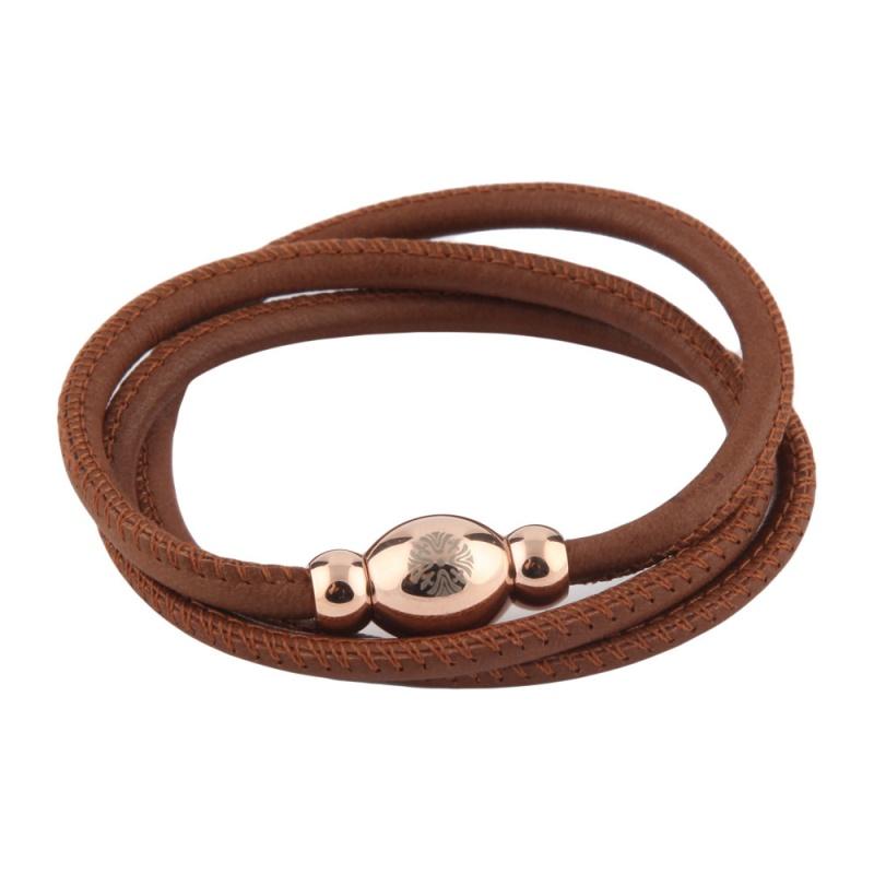 Кожаный браслет Qudo Tender RG светло-коричневый