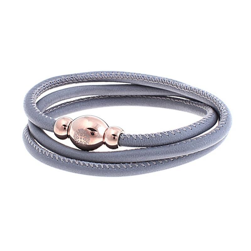 Кожаный браслет Qudo Tender RG серый