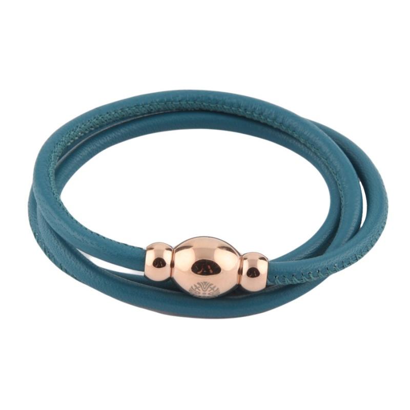 Кожаный браслет Qudo Tender RG тёмно-голубой