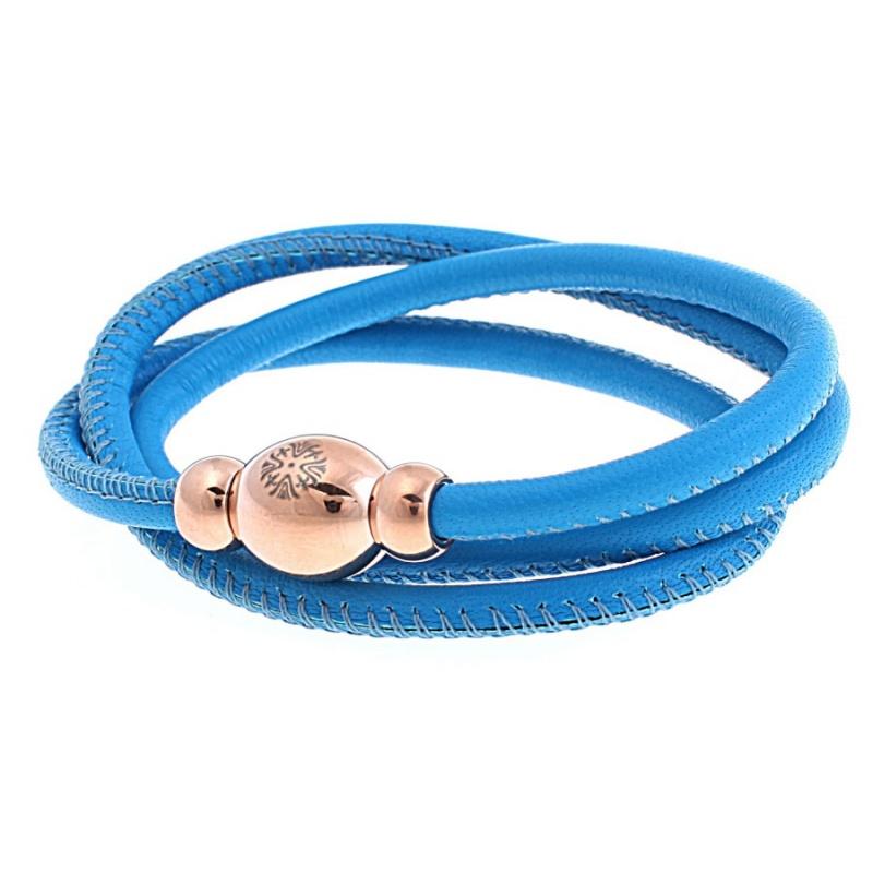 Кожаный браслет Qudo Tender RG голубой